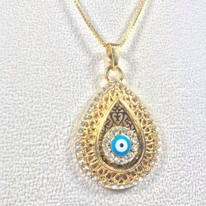 Jewelry - 🆕 Evil Eye Water Drop Gold Pendant Necklace
